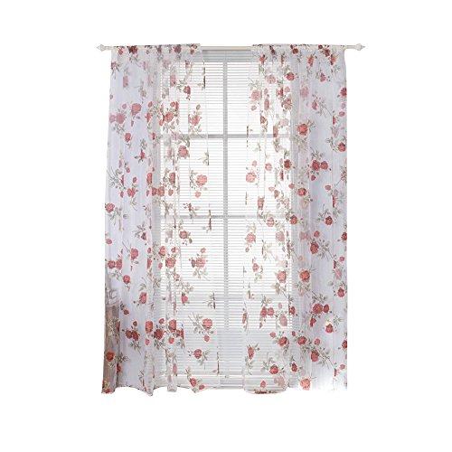 Shyyymaoyi Vorhang mit Rosen-Motiv, ultradünn, für Wohnzimmer, Schlafzimmer, Fenster, Raumteiler rot
