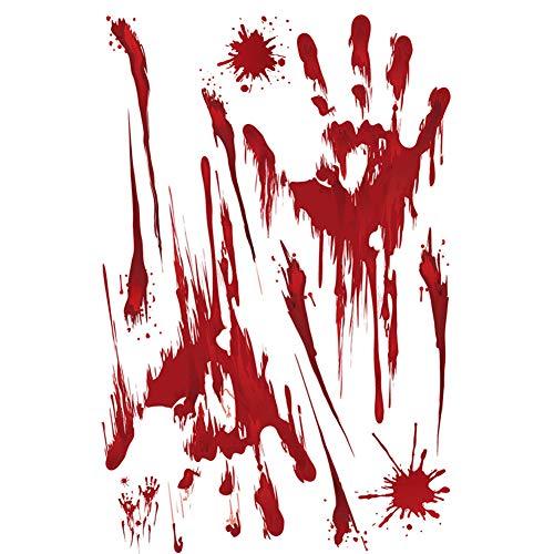 Leisial Creative Wandtattoo - Wandaufkleber Halloween - Schaurig Blutige Fuß Handabdruck Wandsticker Aufkleber,Wohnkultur Fensteraufkleber Halloween Deko