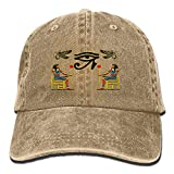 Egyptian Ibis Ankh Horus Eye Denim Hat Adjustable Male Cute Baseball Hat