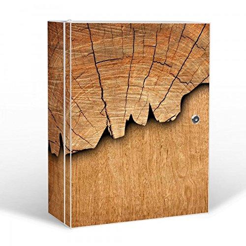 BANJADO Medizinschrank groß abschließbar / Arzneischrank 35x46x15cm / Medikamentenschrank aus Metall weiß mit Motiv Holz