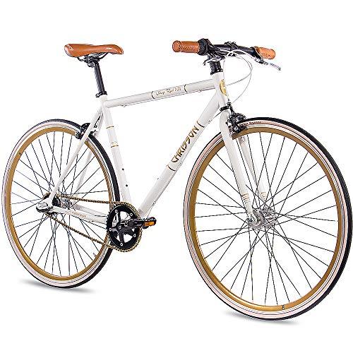 CHRISSON 28 Zoll Retro Rennrad Vintage Bike - Vintage Road N3 Weiss 59 cm mit 3 Gang Shimano Nexus Nabenschaltung, Urban Old School Fahrrad für Damen und Herren