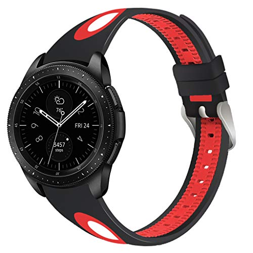 Janly Soft Silicone Petit Bracelet Mixte-Couleur Montre de Sport Bracelet Sangle Compatible pour Samsung Galaxy Watch 46mm (Rouge)