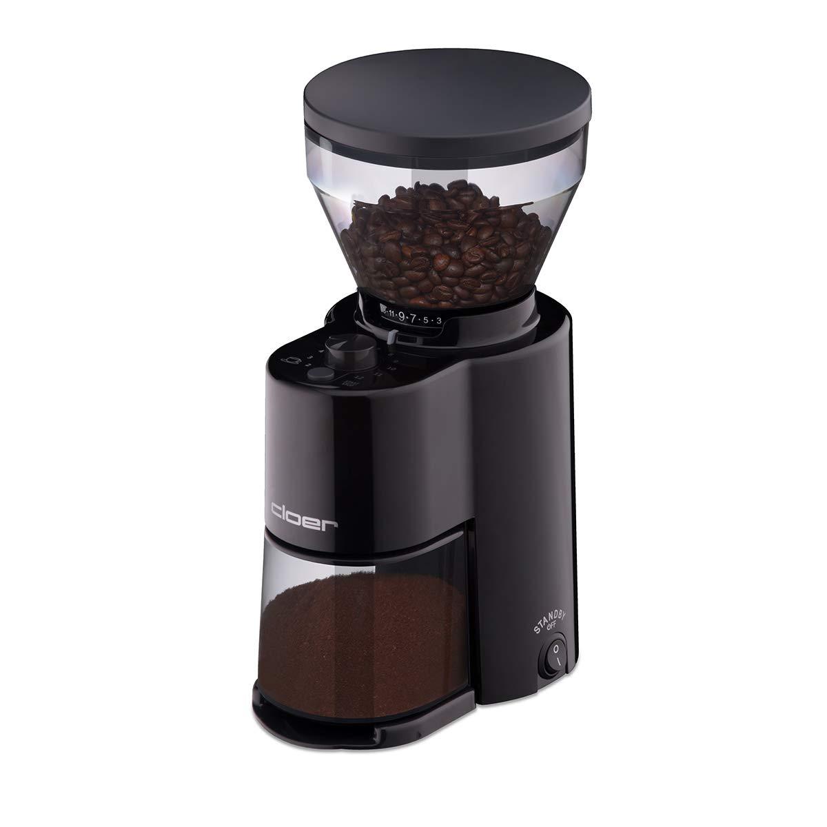 Cloer 7520 Elektrische Kaffeemühle mit Kegelmahlwerk aus Edelstahl, Stiftung Warentest gut, 2-12 Tassen, 300 g…