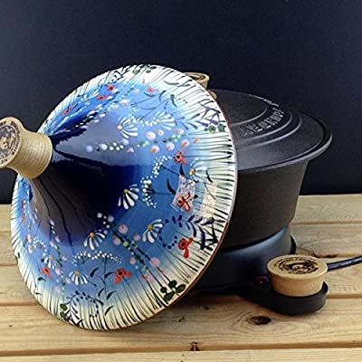 """Netherton Foundry Cast Iron Slow Cooker, hand thrown & hand painted """"Meadow Flower Blue"""" ceramic tagine (2016 model) from Netherton Foundry"""