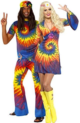 Mens & Ladies Couples Tie Dye Hippy Hippie 1960s 60s Multi-Coloured Matching Fancy Dress Costume Outfits (Ladies UK 16-18 & Mens Large) (1960 Fancy Dress Kostüm)