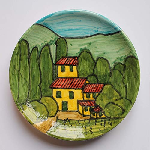 Landschaft der Toskana-Dekoriert Keramikplatte Hand Durchmesser Cm 15-MADE in Italien Lucca Toskana, Zertifikat.