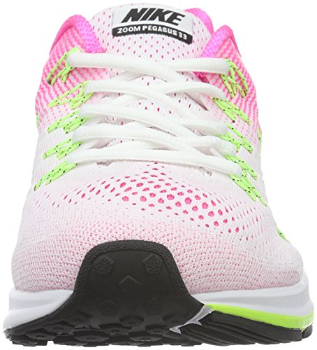 Nike Air Zoom Pegasus 33, Chaussures de Running Compétition Femme Multicolore (White/Black/Pink Blast/Electric Green)