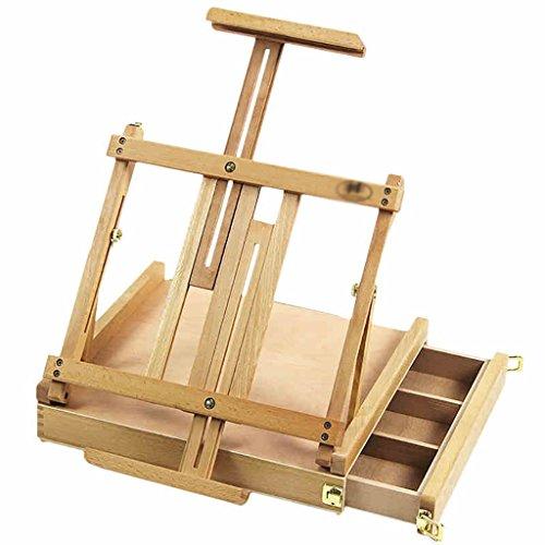 caballetepintura Estante de cajón Desktop Beech Cartucho plegable Telescopic Desktop Art Frame Caja de herramientas de madera caballetes