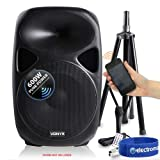 "Vexus 15"" Active Powered Speaker Portable PA System Microphone Stand Bluetooth"
