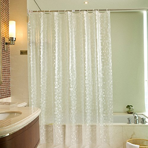 Volador 3D Effect Shower Curtain Heavy Duty 100 EVA Bathroom Curtain with Curtain Hooks, 180x180cm, Mildew Free, Clear 3D Cube Pattern, Waterproof