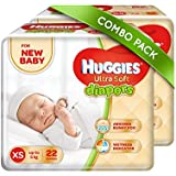Huggies Ultra Soft for New Baby XS Size Diapers (Pack of 2, 22 Count)