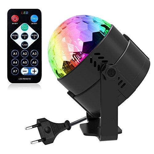 kte Disco Partylicht, ROOROO Disco Beleuchtung Ball für kinder Mit 7 Farbe RGB 3W Lampe Beleuchtung Mit Fernbedienung für Festival Bar Club Party Karaoke Weihnachten Hochzeit (Kleine Disco-kugel)