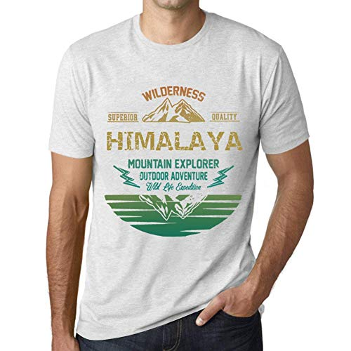 fd1b4e70d866f One in the City Hombre Camiseta Vintage T-Shirt Gráfico Himalaya Mountain  Explorer Blanco Moteado