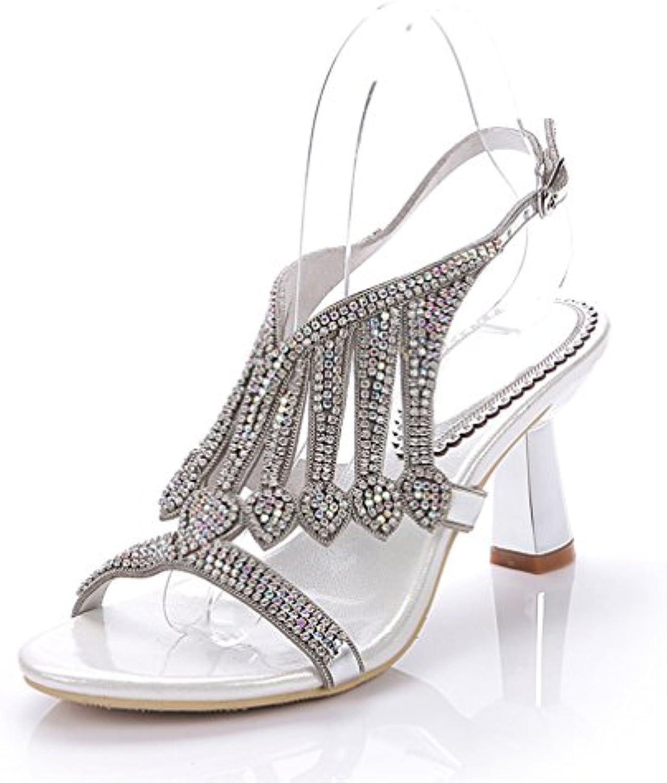 fc27b8632af0 HN 28387 Shoes Womens Diamante Parent Evening Wedding Bridal Prom Party  Sandals Low Heel Sandals Silver