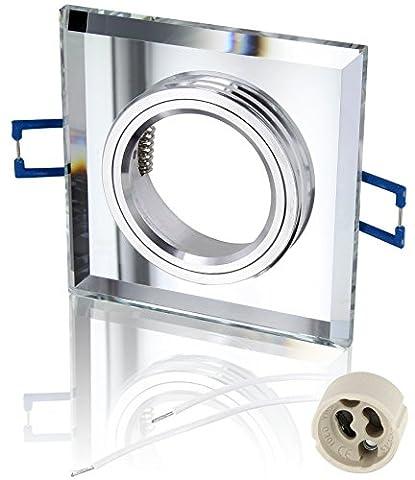 Spot Einbaurahmen Kristallglas GU10 MR16 eckig - mit Klickverschluss - incl. GU10-Fassung - transparent-spiegelnd