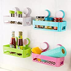 R Dabhi Bathroom Shelves, soap Dish Holder Wall Mount Suction Cup, Soap Holder Rack Stand Container 1pc(Multicolor)