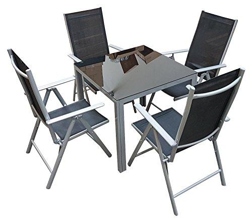 floristikvergleich.de 5tlg. Alu Gartenmöbel-Set Gartengarnitur Hochlehner Balkonmöbel-Set GM5 80x80SG