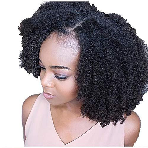 xinxinyu Damen Kurz Verworrene lockige schwarze Perücken Prämie Synthetik Afro Perücken Lace Front Full Wig Curly mit Haar Pony Natürliche Lockenperücken für schwarze Frauen (schwarz)