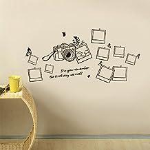 Walplus - Adesivi per muro, motivo cornici e macchina fotografica, scritta in inglese