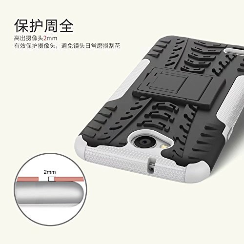 YHUISEN LG X Power 2 Case, Hyun Pattern Dual Layer Hybrid Armor Kickstand 2 In 1 Shockproof Case Cover für LG X Power 2 / LG K10 Power (5,5 Zoll) ( Color : Orange ) White