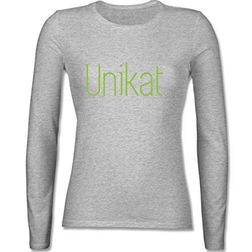 Statement Shirts - Unikat - tailliertes Longsleeve / langärmeliges T-Shirt für Damen Grau Meliert