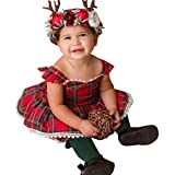 Bambini Vestito - feiXIANG vestito da principessa i bambini si vestono abbigliamento per bambini vestito da bambino gonne gonna ragazze cinturino abito cime pantaloncini abiti set (Rosso, 18 Mesi)