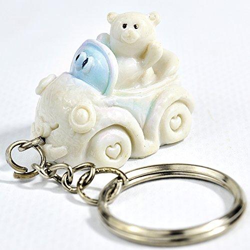 12 pezzi bomboniere portachiavi nascita battesimo maschio orsetto su automobile ceramica celeste