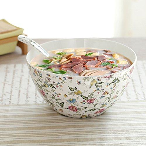 Parendory 8 Pouces Grand Ménage Vaisselle Porcelaine Céramique Bol Bol,Mt Fuji Grand Bol Spoon