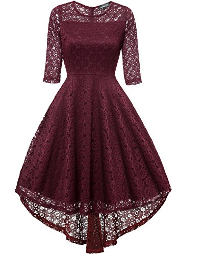 Gigileer Women Floral Lace Dress 1/2 Sleeve Cocktail Dress Plus Size Swing Irregular Dress
