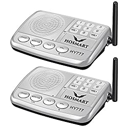 Hosmart 1500FT LONG RANGE 7-Channel Digital FM Wireless Intercom System for Home and Office (2 Stations Silver)