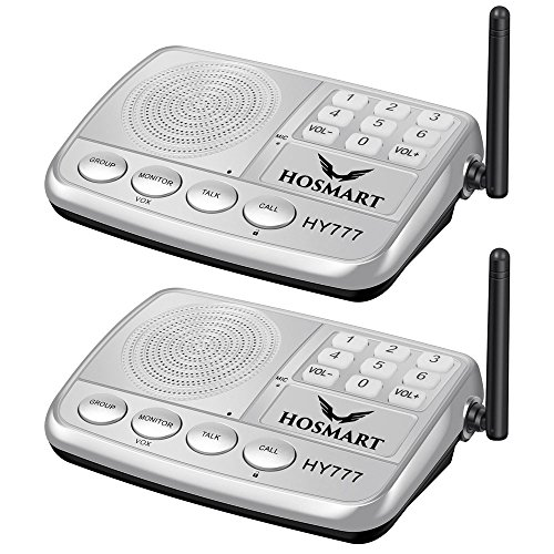 Hosmart 1500FT LONG RANGE 7-Kanal Digital FM Wireless Intercom System f¨¹r Haus und B¨¹ro (2 Stationen Silber) (Wireless Digital Intercom)