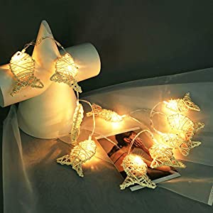 10er Rattan Fisch LED Lichterkette, Dapei 1.1M Kupferdraht Lichterketten AA Batteriebetrieben Micro LED Lichterkette Draht, Weihnachtsdeko ideal für Zimmer, Innen, Weihnachten, Außen, Party, Hochzeit