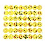 JZK® 48 x Nouveauté gommes à effacer sourire riant timide Emoji caoutchoucs cadeaux mignons pour anniversaire fête des enfants Festival nouvel An Noël, jaune