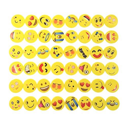 ke Emoji Kinder Radiergummi Smiley Radierer, Spielzeug Gastgeschenk Geschenke für Geburtstag Party Festival neues Jahr Weihnachten, gelb ()