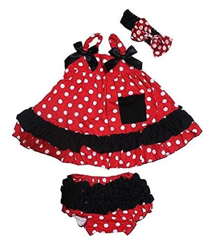petitebelle Blanc Pois Rouge Swing Top Noir à volants bébé
