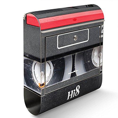 BANJADO Edelstahl Briefkasten mit Zeitungsfach, Design Motivbriefkasten, Briefkasten 38x43,5x12,5cm groß Motiv Video Kassette inkl. schwarzem Standfuß