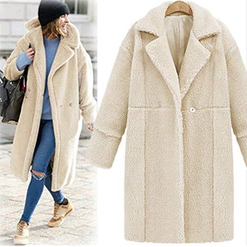 Damen Winter Revers Parka schwarz Wollmantel Trenchcoat Mantel Cardigan Plüschjacke Winter Jacke Outwear -