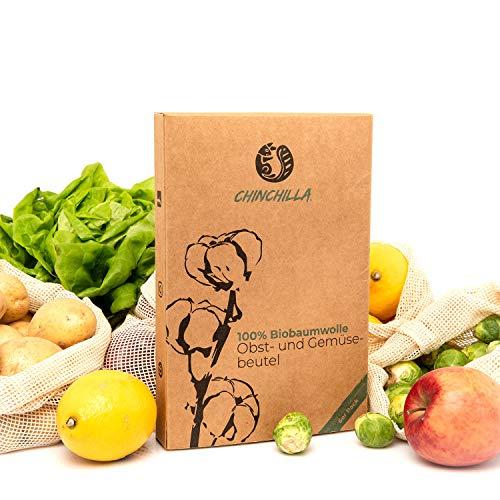 Chinchilla® 6er-Pack Obst- und Gemüsebeutel Einkaufstaschen INKL. Brotbeutel - 100% Biobaumwolle Shopper - Wiederverwendbar & Plastikfrei (Chinchilla Tasche)