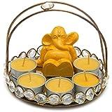 Ganesha Pooja Thali With Five T-lights - Tray 1, Fiber Ganesh 1, Set Of 10 T Light 1, Home Décor Items, Ganesha Idol, Pooja Thali, Diwali Gifts, Table Top, Candles, T Light - DIWALIGIFTS113140