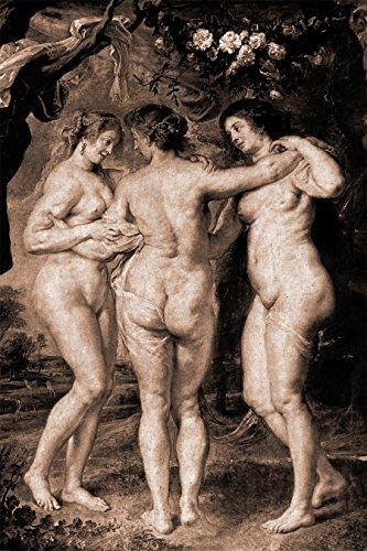 Bilderdepot24 Vlies Fototapete Peter Paul Rubens - Alte Meister - Die DREI Grazien - sephia - Sepia - 120x180 cm - mit Kleister - Poster - Foto auf Tapete - Wandbild - Wandtapete - Vliestapete