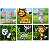 Fiddly's Wooden Jigsaw Puzzle for Children (High Quality Paperless Puzzle) - 9 Pieces (Pack of 6)