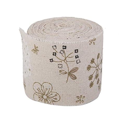 Imprimé fleurs en toile de jute en ruban de coton en toile de jute rustique Mariage Home Craft 10m X