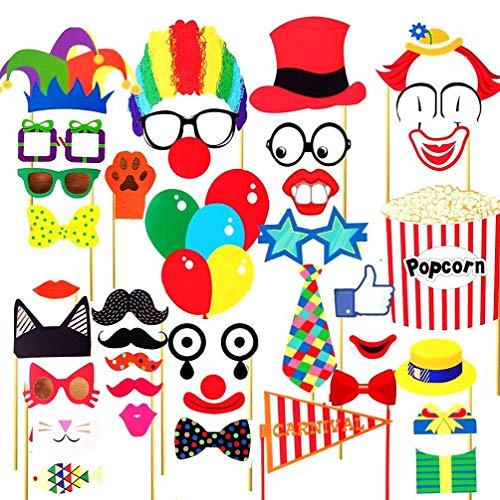 Sayala 36 Stücke Zirkustiere Photo Booth Requisiten - Karneval Foto Requisiten - Circo Geburtstag Thema Hintergrund Dekorationen für Hochzeit Karneval Bachelorette Dress-up Zubehör