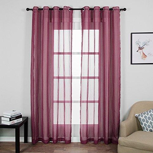 Top finel trasparenti voile tende per case cameretta tenda con occhielli,140x245 cm,2 pezzi,violetto
