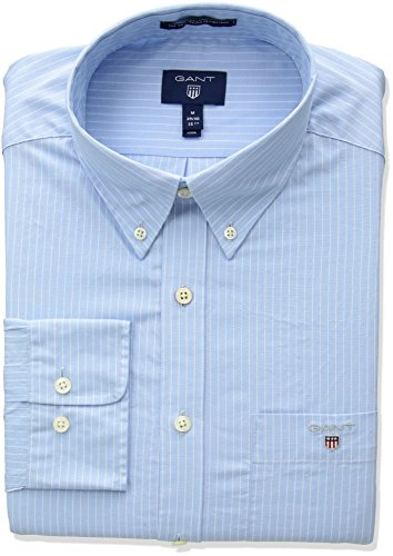 Gant the broadcloth pinstripe reg bd, camicia sportiva uomo, blu (capri blue), medium