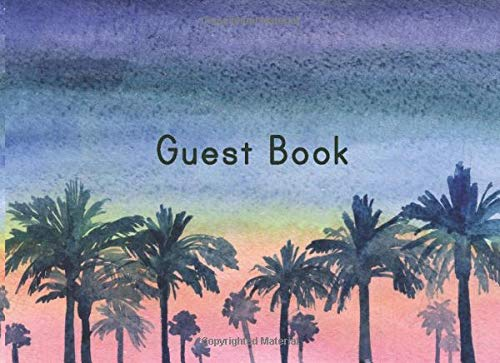 Waterfront Cottage (Guest Book: Lined Guestbook With Prompts - For a Coastal Vacation Rental, B and B, Beach House, Guest Room, Waterfront Condo, or Cottage - Tropical Palm Trees Cover Design)