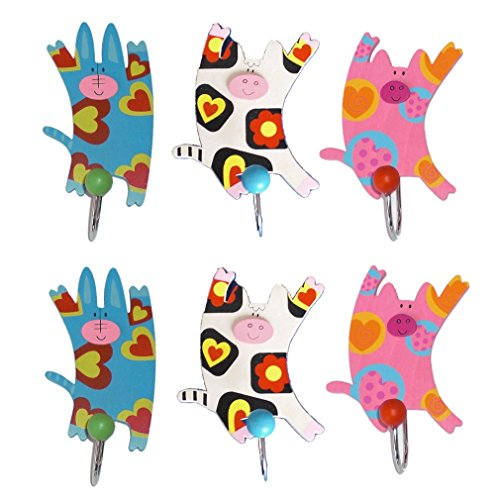 Inware Set de 6 perchas para la pared con diseño infantil Arte Motive, bunt