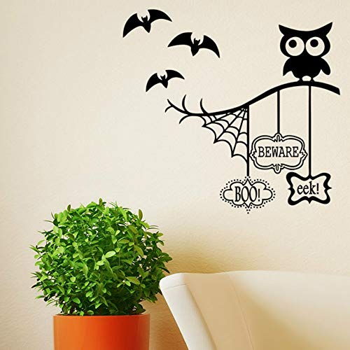 XCSJX Owl Halloween Theme Wall Stickers Spider web bat for Home Decoration living room Background Mural art Decals PVC stickers -