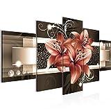 Bilder Blumen Lilien Wandbild 200 x 100 cm Vlies - Leinwand Bild XXL Format Wandbilder Wohnzimmer Wohnung Deko Kunstdrucke Braun 5 Teilig - MADE IN GERMANY - Fertig zum Aufhängen 008651b