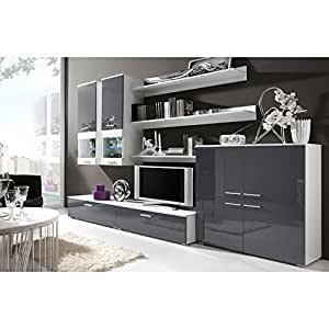 Justhome Como Ii Living Room Furniture Set Wall Unit Tv